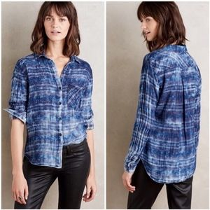 {Cloth & Stone} Rockland Blue Plaid Button Shirt L